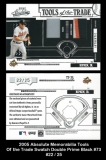2005 Absolute Memorabilia Tools of the Trade Swatch Double Prime Black #73