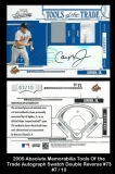 2005 Absolute Memorabilia Tools of the Trade Autograph Swatch Double Reverse #73