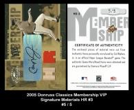 2005 Donruss Classics Membership VIP Signature Materials HR #3