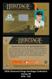 2005 Diamond Kings Heritage Collection Jersey #3