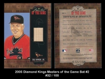 2005 Diamond Kings Masters of the Game Bat #2