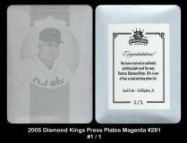 2005 Diamond Kings Press Plates Magenta #281