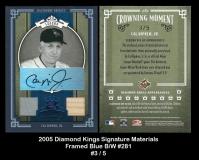 2005 Diamond Kings Signature Materials Framed Blue BW #281