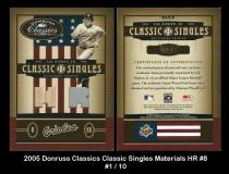 2005 Donruss Classics Classic Singles Materials HR #8