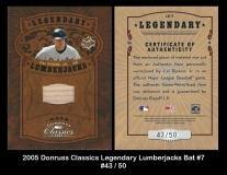 2005 Donruss Classics Legendary Lumberjacks Bat #7