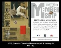 2005 Donruss Classics Membership VIP Jersey #3