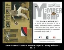 2005 Donruss Classics Membership VIP Jersey Prime #3