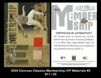 2005 Donruss Classics Membership VIP Materials #3