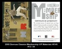2005 Donruss Classics Membership VIP Materials HR #3