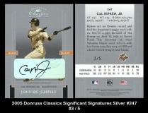 2005 Donruss Classics Singificant Signatures Silver #247