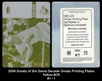 2006 Greats of the Game Decade Greats Printing Plates Yellow #CR