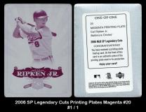 2006 SP Legendary Cuts Printing Plates Magenta #20