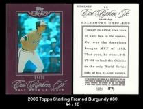 2006 Topps Sterling Framed Burgundy #80