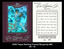 2006 Topps Sterling Framed Burgundy #86