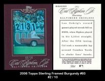 2006 Topps Sterling Framed Burgundy #93