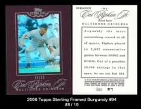 2006 Topps Sterling Framed Burgundy #94