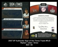 2007 SP Authentic Sign of the Times Triple #RJD
