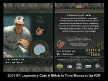 2007 SP Legendary Cuts A Stitch in Time Memorabilia #CR