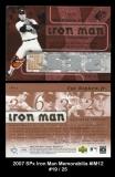2007 SPx Iron Man Memorabilia #IM12