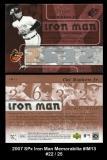 2007 SPx Iron Man Memorabilia #IM13