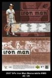 2007 SPx Iron Man Memorabilia #IM3