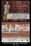 2007 SPx Iron Man Memorabilia #IM31