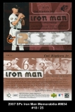 2007 SPx Iron Man Memorabilia #IM34