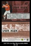 2007 SPx Iron Man Memorabilia #IM60