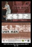 2007 SPx Iron Man Memorabilia #IM74