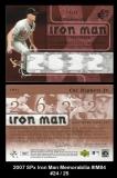 2007 SPx Iron Man Memorabilia #IM84