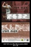 2007 SPx Iron Man Memorabilia #IM85