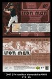 2007 SPx Iron Man Memorabilia #IM89