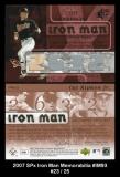 2007 SPx Iron Man Memorabilia #IM93