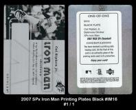 2007 SPx Iron Man Printing Plates Black #IM16