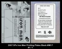 2007 SPx Iron Man Printing Plates Black #IM17