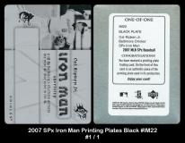 2007 SPx Iron Man Printing Plates Black #IM22