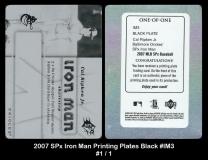 2007 SPx Iron Man Printing Plates Black #IM3