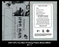 2007 SPx Iron Man Printing Plates Black #IM30