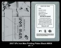 2007 SPx Iron Man Printing Plates Black #IM38