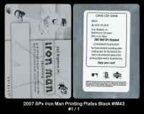 2007 SPx Iron Man Printing Plates Black #IM43
