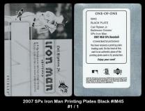 2007 SPx Iron Man Printing Plates Black #IM45