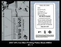 2007 SPx Iron Man Printing Plates Black #IM54