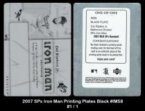 2007 SPx Iron Man Printing Plates Black #IM58