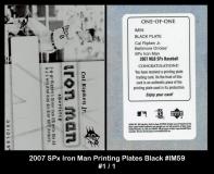 2007 SPx Iron Man Printing Plates Black #IM59