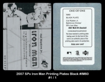 2007 SPx Iron Man Printing Plates Black #IM60