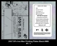 2007 SPx Iron Man Printing Plates Black #IM8