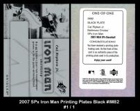 2007 SPx Iron Man Printing Plates Black #IM82