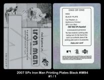 2007 SPx Iron Man Printing Plates Black #IM94