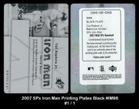 2007 SPx Iron Man Printing Plates Black #IM96