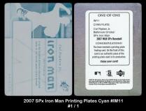 2007 SPx Iron Man Printing Plates Cyan #IM11